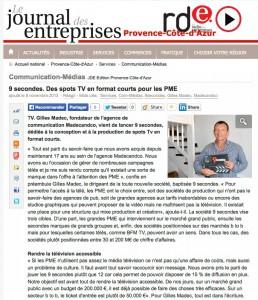 article Journal des entreprises sur 9 secondes